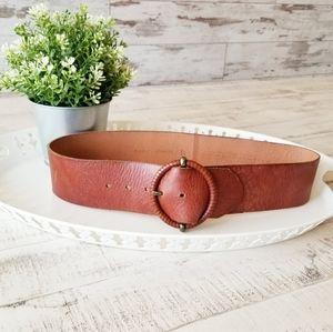 Fossil Genuine Leather Brown Belt Wide Boho